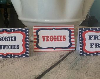 STARS AND STRIPES 4th of July First Birthday Favor Tags or Stickers Red White Blue-Party Packs Available