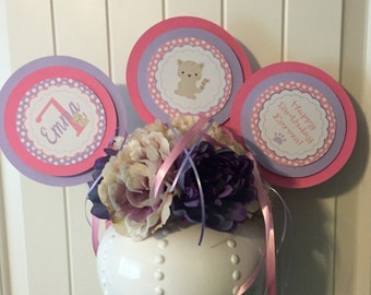 SWEET KITTY CAT Happy Birthday or Baby Shower 3 Piece Centerpiece - Pink Lavender