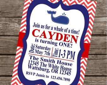 WHALE OF A TALE Birthday Party or Baby Shower Invitations Set of 12 {1 Dozen} - Party Packs Available