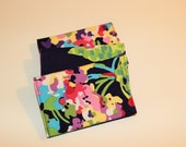 Card Wallet - Purple with Multi-color Floral - Credit Card Holder, Student ID, Gift Card, Fabric Card Wallet