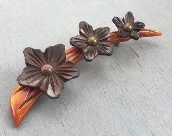 Vintage Carved Bakelite Brooch Wood Flowers 1940s Jewelry Rare