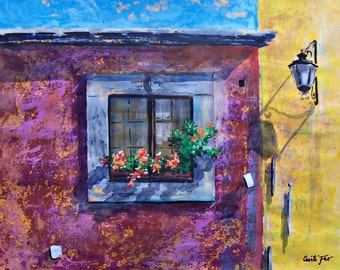 """Original painting of window with flowers and street light in Mexico home decor 19.5""""x 25.5""""  acrylic on paper"""