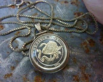 PERTH MINT 1994 Australian coin bubble charm sterling Sundance Style charm necklace