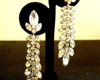Vintage Rhinestone Earrings Clip Marquis Cuts and Rounds 2 3/4 inch Length Sprarkling Wedding Earrings Jewelry Earrings Bling