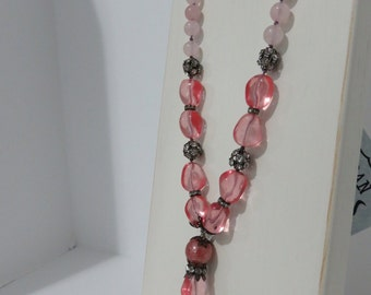 Shades of Pink GLass Tassled Knotted Long Necklace