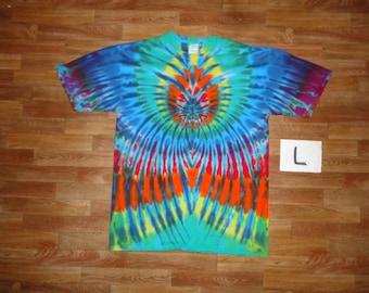 Tie Dye T-Shirt ~ Rainbow Spider Spiral with Blue Blades 05015 Large