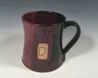 Indiana Beer Stein - handmade ceramic mug- 24 oz - Purple and Black-  Indiana stamp image - Ready to ship - ceramics - pottery - stoneware