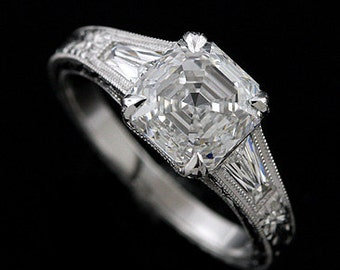 Tapered Baguette Diamond Ring, Asscher Cut Art Deco Style Proposal Ring, Hand Carved Unique Engagement Ring, Platinum Ring Setting Mounting