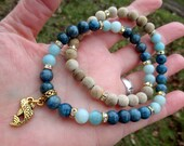 NJORD'S CATCH Mala-Style Devotional Necklace - 14K Gold-Plated Pewter Fish with Apatite and Amazonite - northern tradition