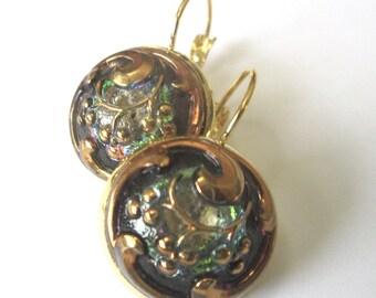 GREEN glass vintage button earrings, Czech glass buttons, gold lever backs