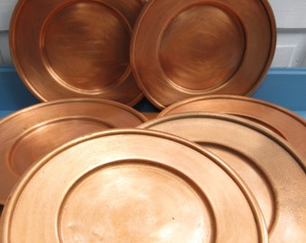 Beautiful Set of Six Copper Plates/Chargers /Holiday Copper Serving Plates/Copper Dinner Plates