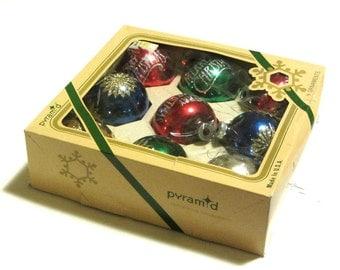 CIJ Vintage Rauch Stenciled Glitter Glass Ornaments Merry Christmas Pyramid Industries Boxed Christmas Tree Decor