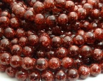 Brick Red Mottled Glass Beads - 8mm Round Beads, Bohemian Beads - 25pcs - BN15