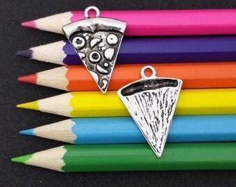 10 PCS - Slice Pizza Food Silver Tone Charm Pendant C1535