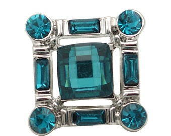 1 PC 18MM Blue Square Rhinestone Silver Candy Snap Charm ds5153 CC1668