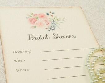 Bridal Shower Invitations-Floral shower Invitation-Shabby Chic Wedding Shower Invitation-Wedding Invitation-Set of 10