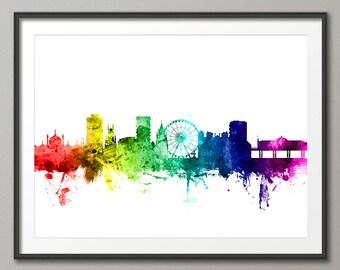 Brighton Skyline, Brighton England Cityscape Art Print (2435)