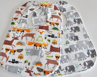 Bibs, Baby/Toddler BIBS, pick your backing, chenille or minky, set of 2, elephants and deer