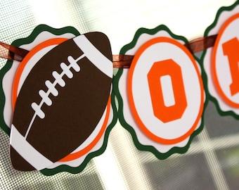 Football Highchair Banner . Sports Party Decorations . First Birthday Banner. Mini Birthday Banner . Football Theme Birthday. Green Orange