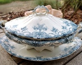 Antique English Tureen, Blue Transferware, Upper Hanley Alliances