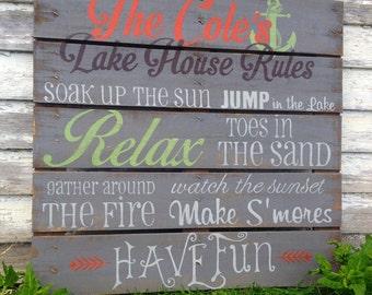 Custom Lake House Rules Sign