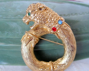 Panther Cat Brooch Rhinestone Gold Tone Pin