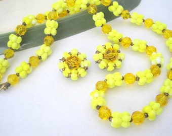 Yellow Glass Necklace Set - Highlighted Faceted -  Crystal Beads