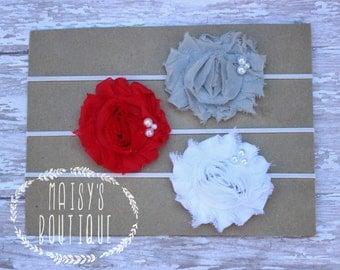 Set of 3- Grey, Red and White Pearl Headband Set/ Shabby Flower Headband/ Newborn Headband/ Baby Headband/ Flower Girl/ Photo Prop