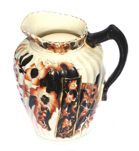 Edwardian Water Jug Art Nouveau Pitcher Benares Pattern Vase Barware Drinkware Housewares Vintage Home Decor Table Serving