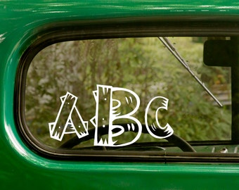 Wooden Font Monogram Decal, Custom Monogram Sticker, Yeti Sticker, Car Decal, Initials Sticker, Laptop Sticker, window Sticker, Vinyl Decal