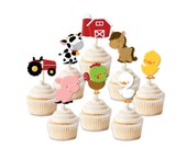 Farm Birthday cupcake toppers, Farm birthday, Animal party,  Barnyard birthday, country birthday, cowboy party, cowgirl party, petting zoo