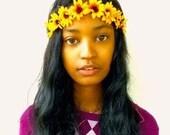 Sale - Sunflower Flower Crown Headband- Flower Crown - Floral Crown - Hair Accessories- Women's Accessories- Sunflowers- Floral