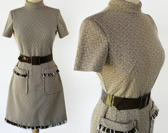 60s 70s Mod Wiggle Dress Fringed Tweed by Barnsville