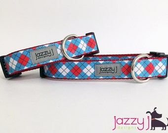 Red, White, and Blue Argyle Plaid Dog Collar