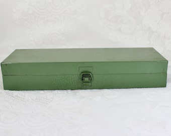 Metal Box- Vintage/ Antique Army Green Textured Box with hinged lid and clasp-