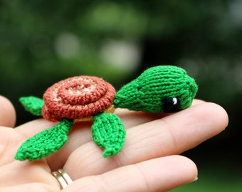 Miniature Knit Lucky Turtle Doll - Toy or Car Mirror Decor