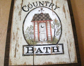 OUTHOUSE   Primitive Country Bath Bathroom  Wall Art Decor Retro Primitive Plaque Sign Picture