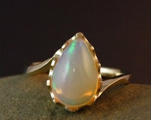 SALE SALE Gold Pearl White Opal Ring - Australian Opal Ring - Luxury Collection