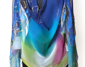 Hand painted silk chiffon scarf/Blue roses painted by hand/Handpainted silk chiffon Luxury scarf/Gift for woman/17/70 inches/Accessory/S0012