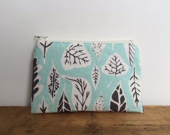 Small Zipper Pouch, Sky Blue and Gray Leaves Coin Pouch, Zipper Coin Purse