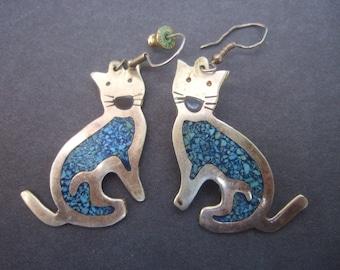 Dangling Cat Silver Metal Pierced Earrings