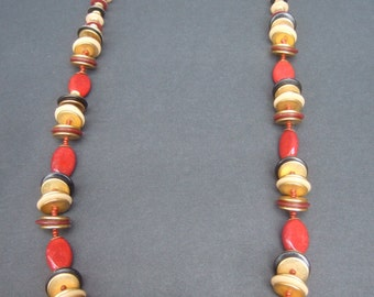 MIRIAM HASKELL Beaded Long Disc Necklace c 1970