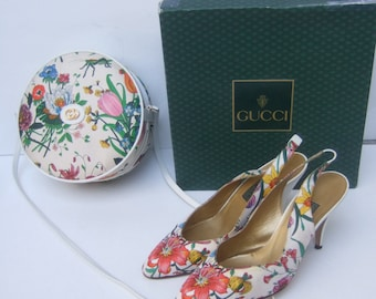GUCCI Rare Floral Canteen Handbag & Matching Flower Pumps c 1980s (Genuine)