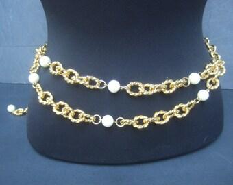 Heavy Gilt Metal Pearl Chain Belt