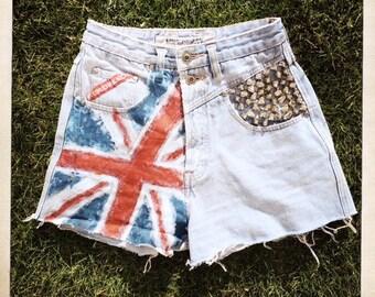 Vintage 80s UNIONBAY Studded Hand-painted UNION JACK British Flag Denim Punk Rock Cut-Off Shorts - Size 7/8