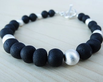 Black Spinel & Sterling Silver Bracelet