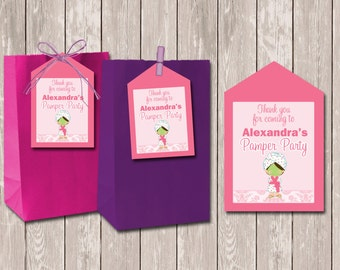 Pamper Spa Party Personalised Lollybag Favour Favor Tags - YOU PRINT