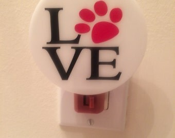 Dog lovers LOVE Night Light with a Paw Print FREE SHIPPING