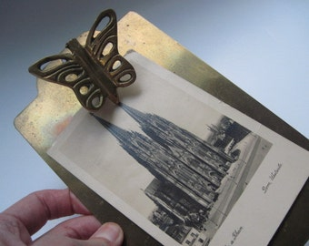 Vintage Brass Picture Display Clipboard with Butterfly