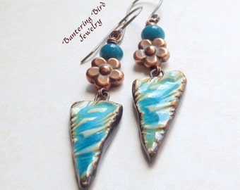 Long Teal Blue Ceramic Earrings with Copper Flower, Indonesian Glass, Happy Fish Pottery Bead, Tribal Triangle Earrings, Copper Boho Jewelry